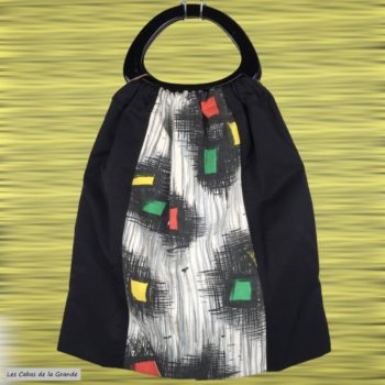 Los Angeles sac cabas doublé réversible, porté main, aves anses en résine en forme de D