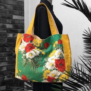 Hervé sac de courses en toile porté épaule avec anses en tissu